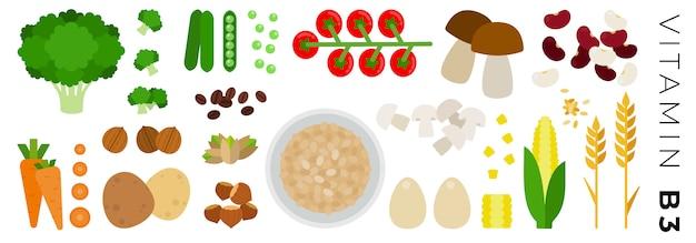 Set di alimenti con vitamina b3.