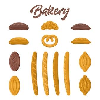 Set di alimenti da forno. diversi tipi di pane