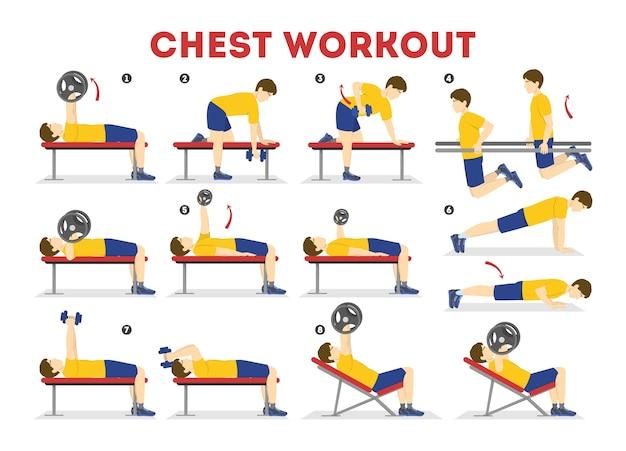 Set di allenamento per il petto. raccolta di esercizi per il braccio