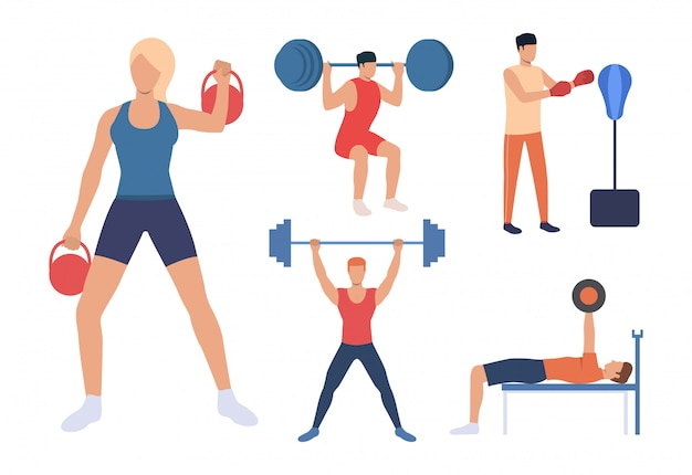 Set di allenamento per la forza. uomini e donne che sollevano pesi