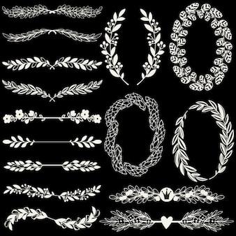 Set di allori e corone handdrawn e staffe floreali