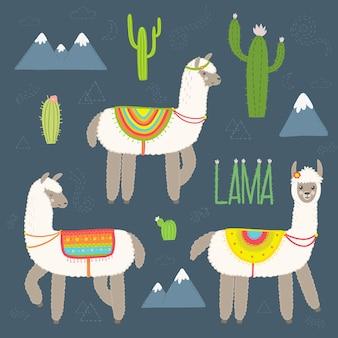 Set di alpaca carino vettoriale