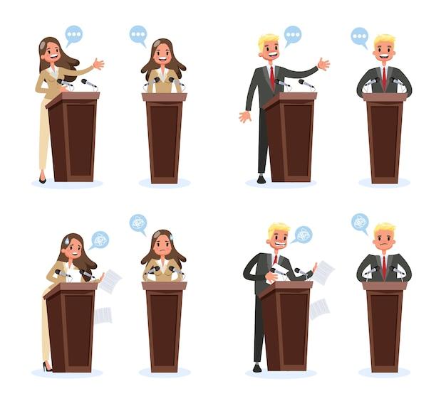 Set di altoparlanti pubblici. carattere aziendale in piedi in un vestito