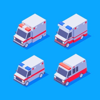 Set di ambulanze isometriche