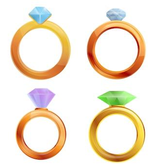 Set di anelli di diamanti, stile cartoon