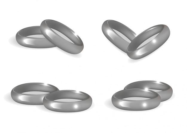 Set di anelli di nozze d'argento realistici. raccolta di bande su sfondo bianco. illustrazione.