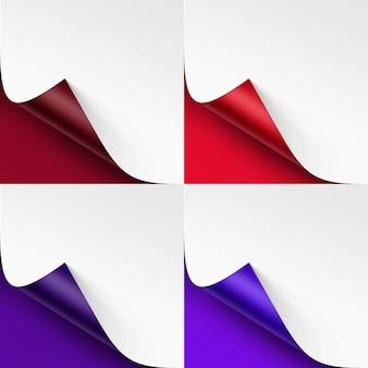 Set di angoli colorati arricciati di carta bianca