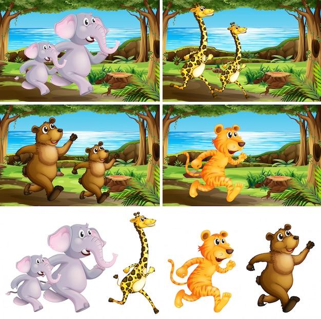 Set di animali che corrono nel parco
