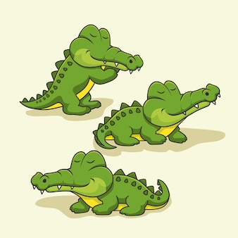 Set di animali coccodrillo simpatico cartone animato alligatore