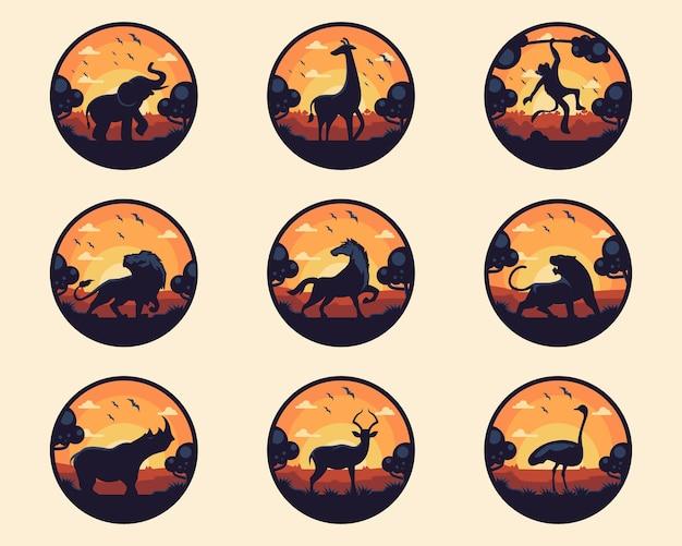 Set di animali con badge albero