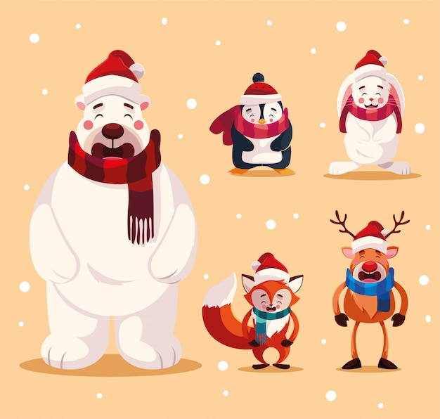 Set di animali con cappelli di natale