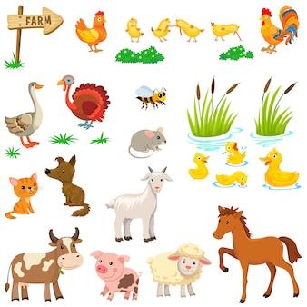 Set di animali da fattoria.