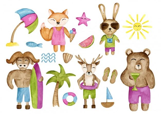 Set di animali dell'acquerello di estate