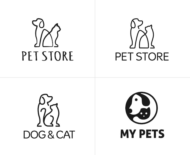 Set di animali domestici cane e gatto lineare logo design template