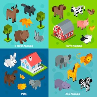 Set di animali isometrici
