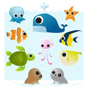 Set di animali marini
