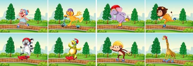 Set di animali nel parco