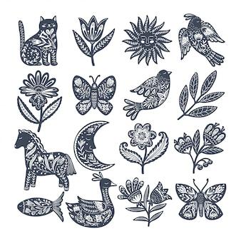 Set di animali popolari scandinavi ed elementi decorativi. disegnato a mano