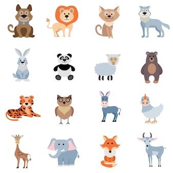 Set di animali selvatici e animali domestici