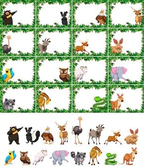 Set di animali sulla cornice della natura