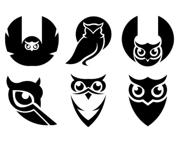 Set di animali uccello gufo