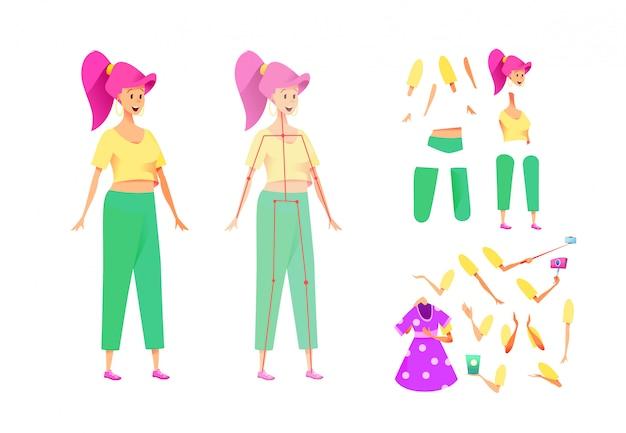 Set di animazione giovane donna attraente. simpatico kit per la creazione di personaggi femminili con varie emozioni, parti del corpo, braccia e gambe selfie stick, abito e smartphone. costruttore ragazza