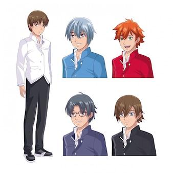 Set di anime faccia maschile