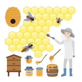 Set di api da miele. uomo in unifrom con nido d'ape e botti.