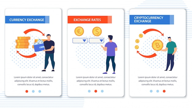 Set di app mobili per lo scambio di criptovalute in valuta