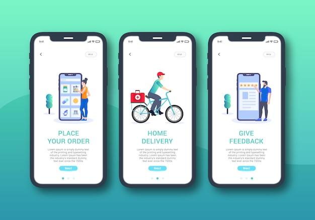 Set di app per farmacia online di interfaccia utente mobile con schermo integrato