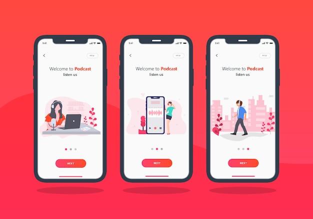 Set di app per podcast di progettazione dell'interfaccia utente mobile con schermo integrato