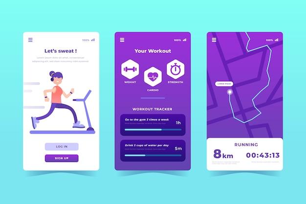Set di app tracker di allenamento