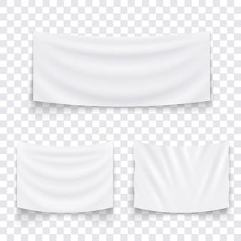 Set di appendere banner bianco tessile vuota