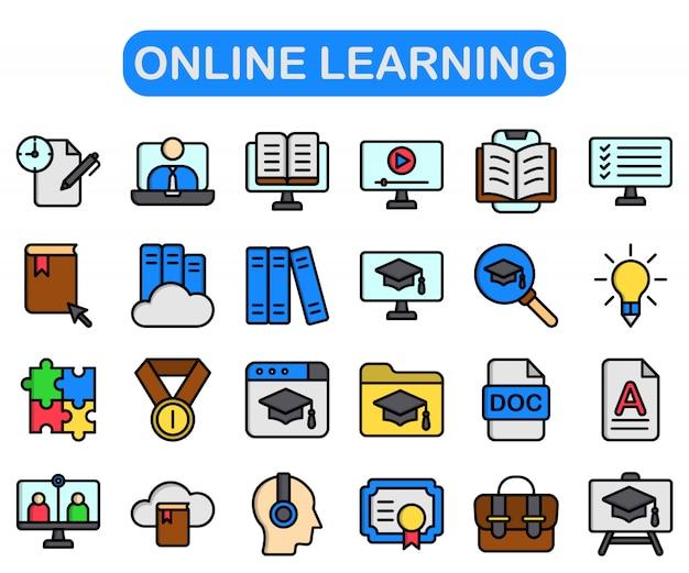 Set di apprendimento online, stile di colore lineare premium