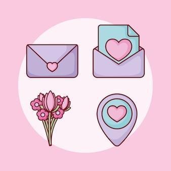 Set di appuntamenti online con bouquet di e-mail cuore d'amore
