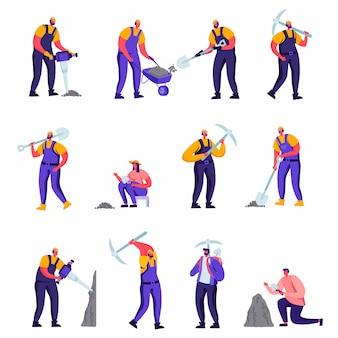 Set di archeologi piatti e personaggi dei lavoratori di riparazione della strada