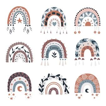 Set di arcobaleni boho.