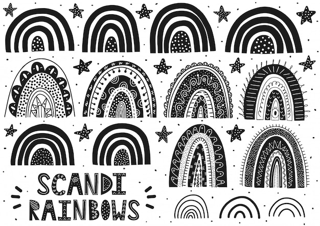 Set di arcobaleni scandinavi. clipart carino fantasia. raccolta in bianco e nero di elementi isolati. illustrazione vettoriale