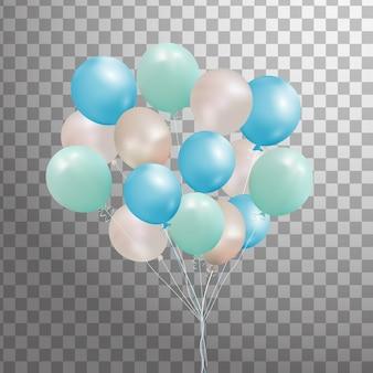 Set di argento, blu, palloncino di elio verde isolato nell'aria. palloncini festa glassati per la progettazione di eventi. decorazioni per feste di compleanno, anniversario, celebrazione.