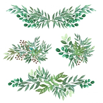 Set di arrangiamento e bouquet di foglia verde