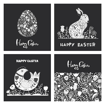 Set di arte popolare di con uovo di pasqua