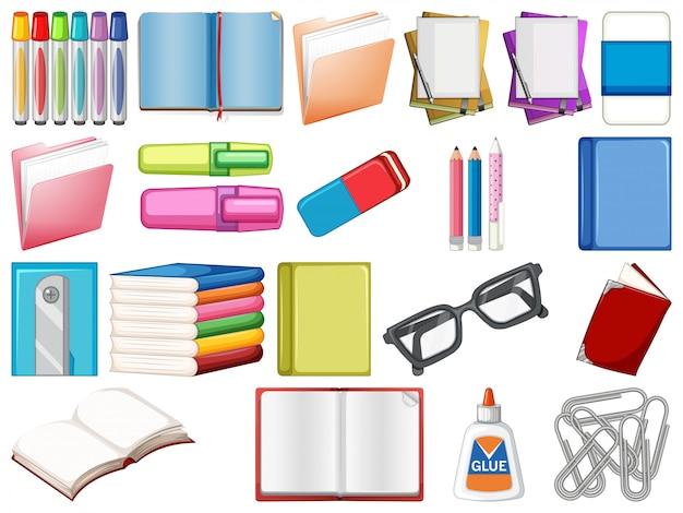 Set di articoli di cancelleria e libri