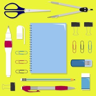 Set di articoli di cancelleria sul tavolo. set scuola o ufficio.