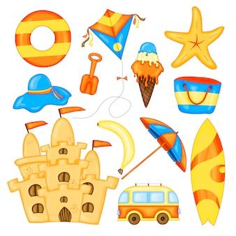 Set di articoli estivi per le vacanze. collezione estiva di cartoni animati in vettoriale.