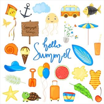 Set di articoli estivi per le vacanze