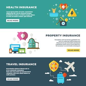 Set di assicurazione aziendale, servizi bancari e banner di sicurezza