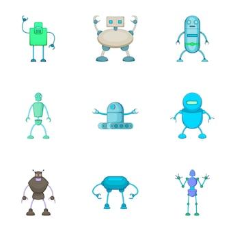 Set di assistenti robot, stile cartoon