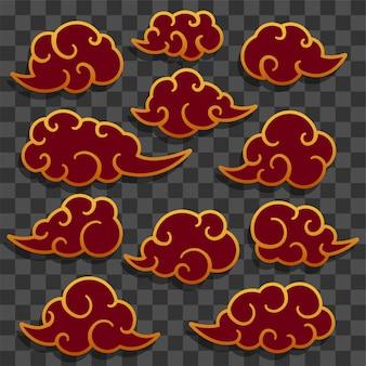 Set di astratto nuvola cinese tradizionale