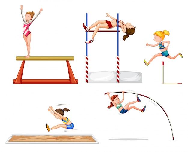 Set di atleti sportivi