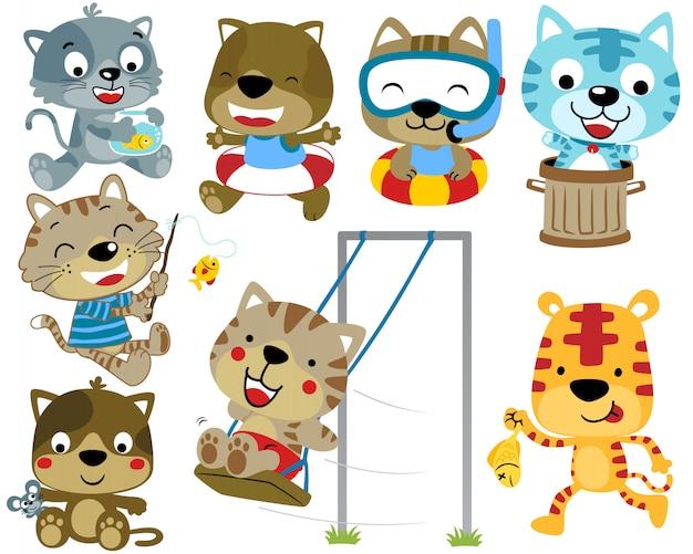 Set di attività dei cartoni animati di gatti
